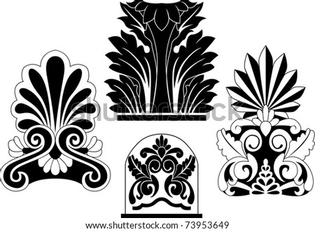 Set of traditional architectural elements stencil for design