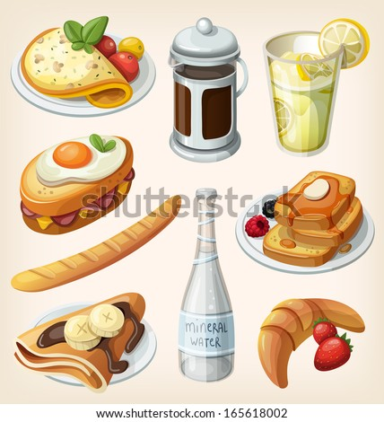 Set of traditional french breakfast elements and dishes - stock vector