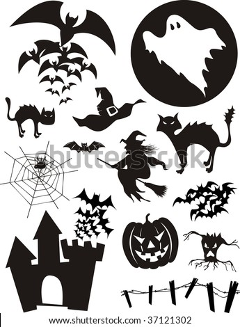 set of traditional halloween design elements bats pumpkin witch ghost black - Black Cat Silhouette Halloween