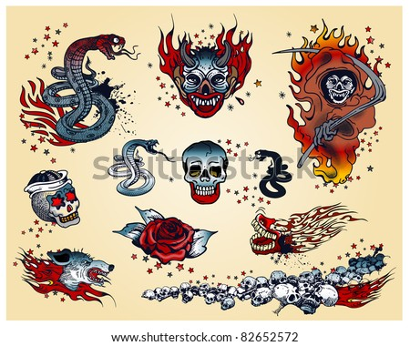 Set of traditional Tattoo's - stock vector