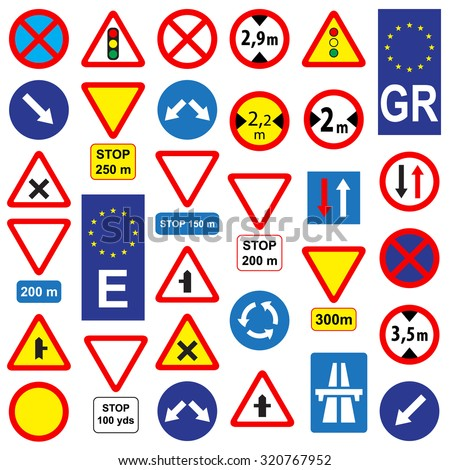 Set of traffic signs, isolated on white background, vector illustration.