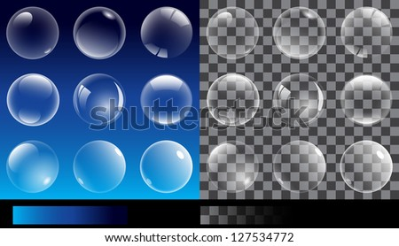 Set of transparent bubbles. Illustration without text - stock vector