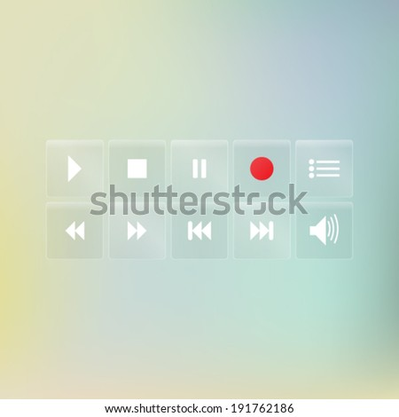 Set of Transparent Buttons for Media Player - stock vector