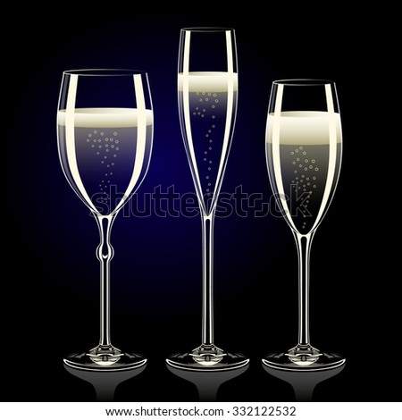 Set of transparent champagne glasses with sparkles on black background