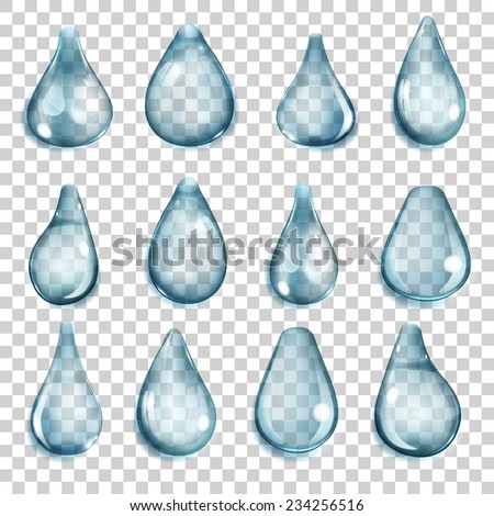 Set of transparent drops of different forms in blue colors - stock vector