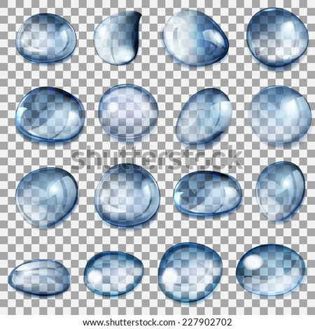 Set of transparent drops of different forms in dark blue colors - stock vector