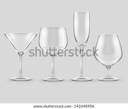 set of transparent glass goblets - EPS10 vector illustration - stock vector