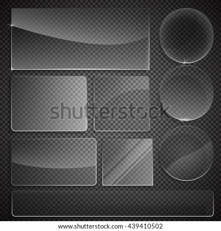 set of transparent glass on sample background. Glass framework set. Glass square, rectangular and round buttons on checkered background. Vector illustration. - stock vector