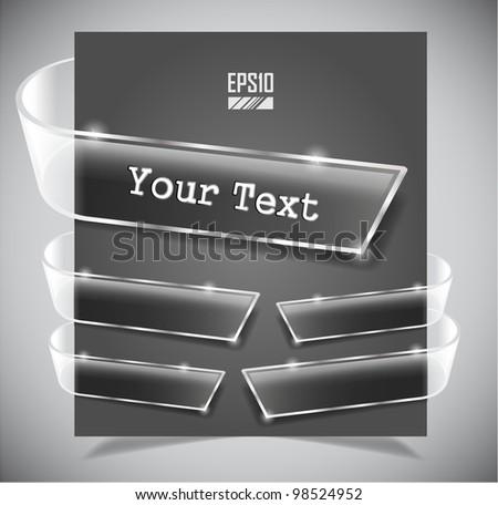 set of transparent glass ribbons. Vector illustration - stock vector