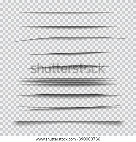 Set of transparent realistic paper shadow effects - stock vector