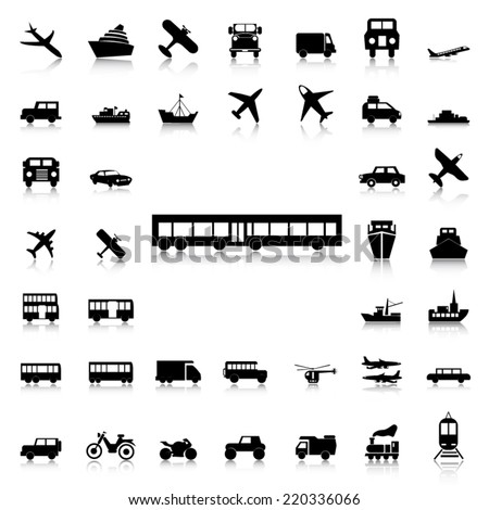 Set of Transport black icons and silhouettes - stock vector