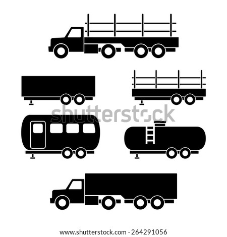 Set of transport black icons. Vector illustration - stock vector