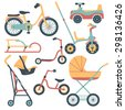 Set of transport for children: baby carriage, pushchair, car seat, baby car, bicycle, kick scooter,  balance-bike, sled.  - stock vector