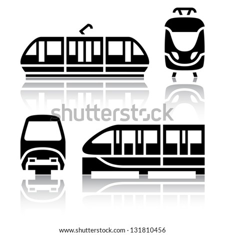 Set of transport icons - Monorail and Tram, vector illustration - stock vector