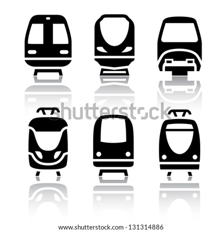 Set of transport icons - Train and Tram, vector illustration - stock vector