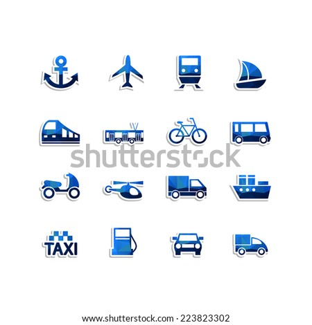 Set of Transport icons with triangles pattern. Vector illustration. - stock vector
