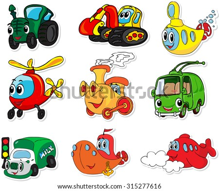 Set of transport: tractor, excavator, submarine, helicopter, train, trolleybus, lorry, ship and aircraft. Vector illustration for kids - stock vector