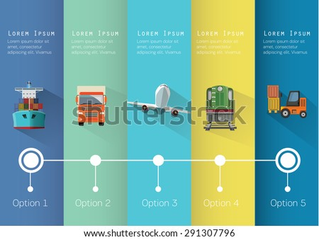 Set of transportation flat icons infographics. Vector illustration. - stock vector