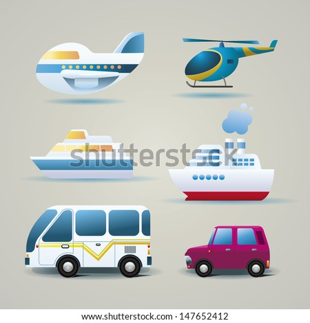 Set of transportation icons. - stock vector