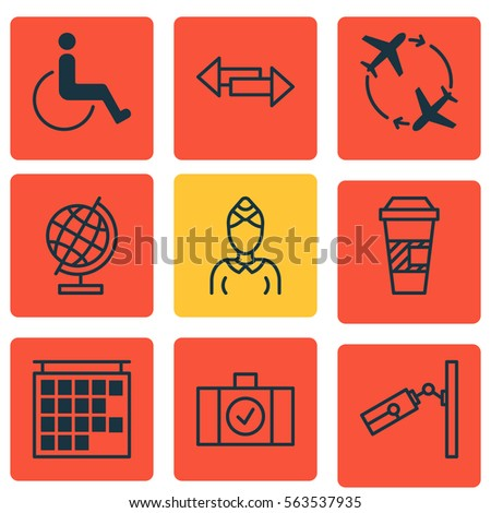 Set 9 Transportation Icons Includes Hostess Stock Vector Royalty