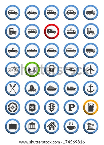 Set of transportation, nautical and travel icons, flat design, vector eps10 illustration - stock vector