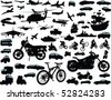 Set of transportation silhouettes: cars, planes, bikes, ships - stock vector