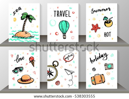 Set Of Travel Card Design With Hand Drawn Lettering Word Sea Summer
