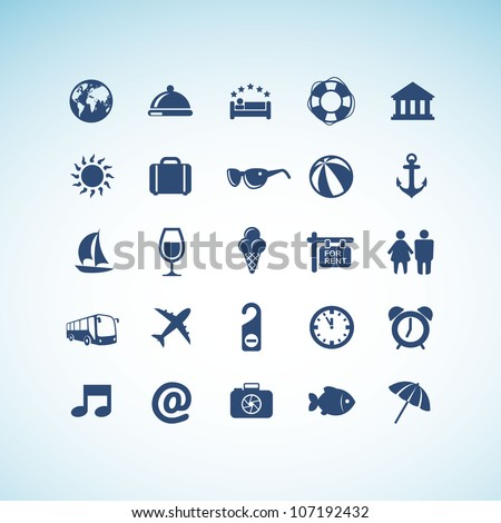 Set of travel icons - stock vector