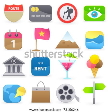 Set of travel icons on a white background