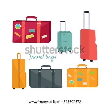 Set of travel suitcases and bags vectors. Flat design. Collection of various handle baggage. Colored suitcases with telescopic handle, wheels and stickers. For touristic concepts, travel companies ad