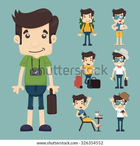 set of traveler people  , eps10 vector format - stock vector