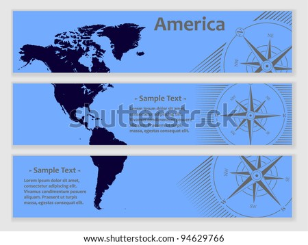 set of tree blue banners with map of america - stock vector