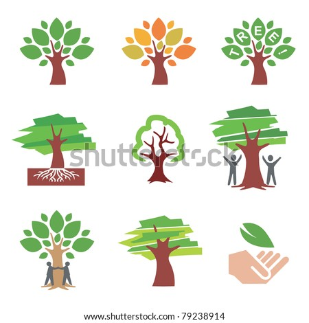 Set of  tree icons and illustrations. Vector illustration. - stock vector