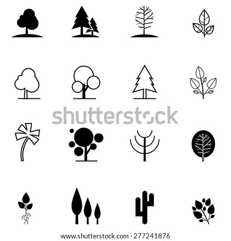 set of tree icons in different style