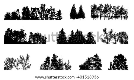 Set of Tree Silhouette Isolated on White Backgorund. Vecrtor Illustration. EPS10 - stock vector
