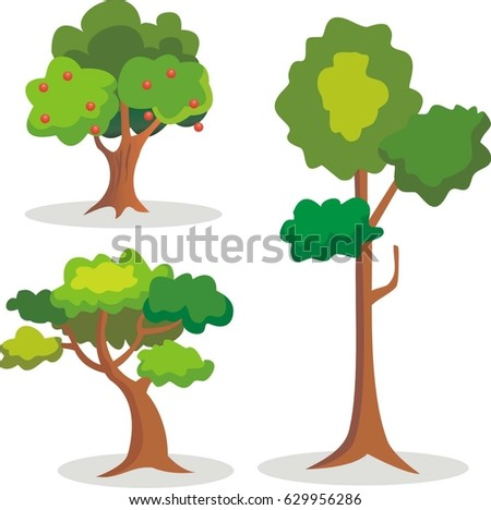Set of trees design vector