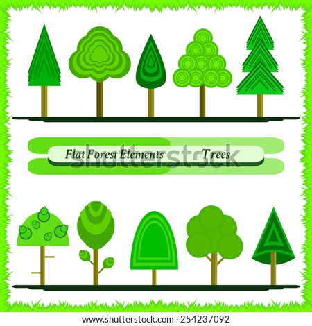 Set of trees drawn in cartoon style. Flat vector illustration.Editable template.Isolated. Modern design. - stock vector