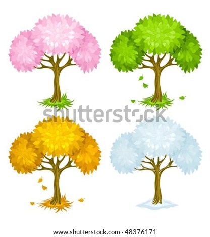 set of trees from different seasons vector illustration