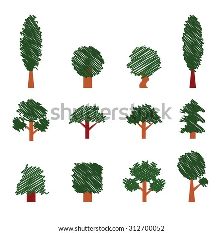 Set of Trees. Hand Drawing Style. Collection of Design Elements. Icons Set. Vector - stock vector