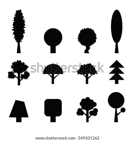 Set of Trees Silhouettes. Collection of Design Elements. Icons Set. . Vector - stock vector