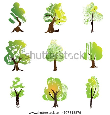 Set of 9  trees. Vector