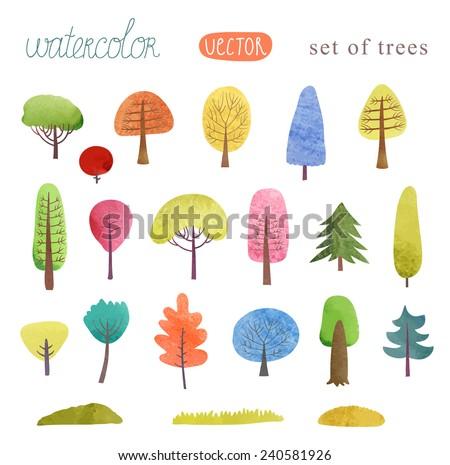 Set of trees watercolor vector - stock vector