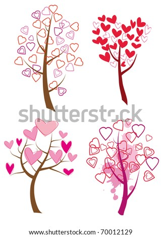 set of trees with hearts