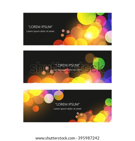 Set of trendy bright colorful vector banners template or website headers with abstract geometric bokeh background.
