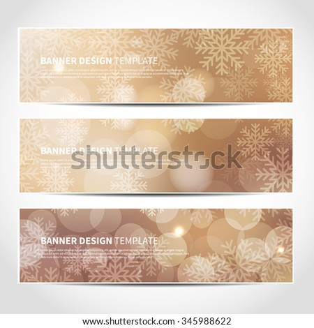 Set of trendy Christmas beige vector banners template or website headers with abstract bokeh lights and snowflakes background. Vector design illustration EPS10 - stock vector