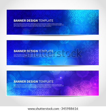 Set of trendy Christmas blue vector banners template or website headers with abstract bokeh lights and snowflakes background. Vector design illustration EPS10 - stock vector