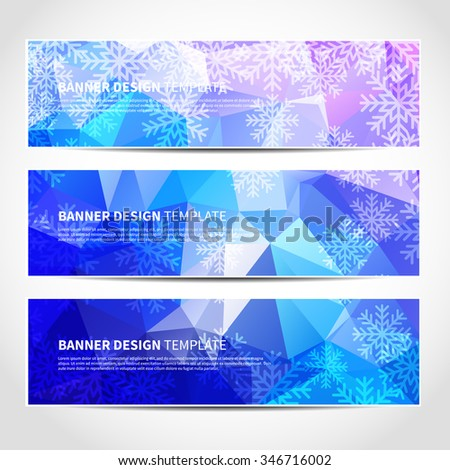 Set of trendy Christmas blue vector banners template or website headers with abstract geometric background and snowflakes. Vector design illustration EPS10 - stock vector