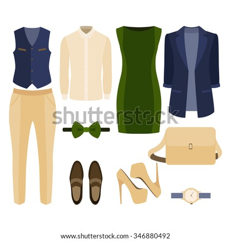 Set of  trendy clothes. Outfit of man and woman clothes and accessories. Vector illustration