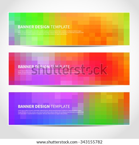 Set of trendy colorful vector banners templates or website headers with abstract geometric background. Vector design illustration EPS10 - stock vector