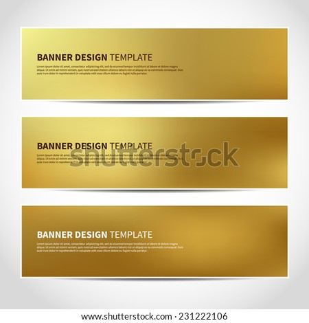 Set of trendy gold vector banners template or website headers with abstract background. Vector design illustration EPS10 - stock vector